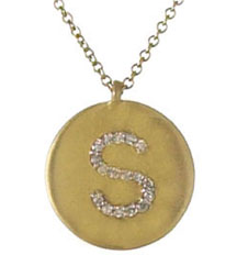 YELLOW GOLD DISC WITH PAVE DIAMOND INITIAL