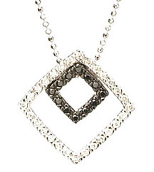 .33TW DOUBLE SQUARE BLACK AND WHITE DIAMOND PENDANT