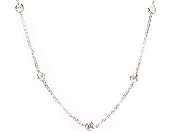 14K WHITE GOLD DIAMOND BY THE YARD STYLE DIAMOND NECKLACE