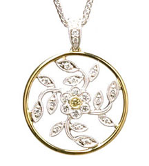 SIMON G TWO TONE FLOWER PENDANT