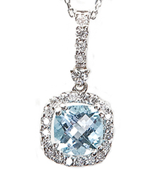 14K WHITE GOLD CUSHION BLUE TOPAZ CENTER AND ROUND DIAMOND HALO PENDANT