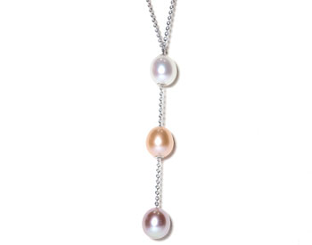 14K WHITE GOLD MULTI COLOR FRESH WATER PEARL DROP DESIGN NECKLACE