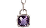 14K WHITE GOLD LOCK STYLE CUSHION AMETHYST AND PAVE DIAMOND PENDANT