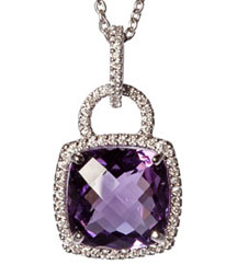 12MM CUSHION AMETHYST  AND PAVE DIAMOND PENDANT