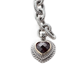 STERLING SILVER GARNET HEART CHARM AND ROLO CHAIN BRACELET