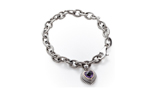 STERLING SILVER AMETHYST HEART CHARM AND ROLO CHAIN BRACELET