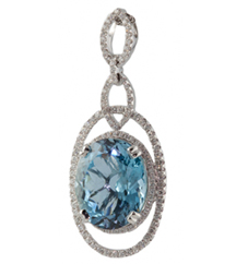 18KWG FANCY OVAL AQUAMARINE AND DIAMOND PENDANT