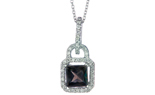 14K WHITE GOLD LOCK STYLE OCTAGON SMOKEY QUARTZ AND PAVE DIAMOND HALO PENDANT