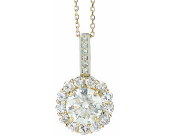 14K YELLOW GOLD ROUND DIAMOND AND PAVE DIAMOND HALO PENDANT