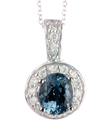 14K WHITE GOLD OVAL AQUAMARINE CENTER AND ROUND DIAMOND HALO PENDANT