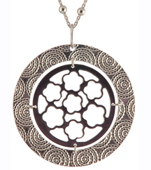 STERLING SILVER/BLACK FILIGREE PENDANT
