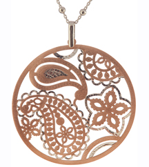 18 STERLING SILVER AND ROSE GOLD PLATED PENDANT