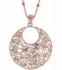 STERLING SILVER/ROSE GOLD PLATED FLOWER DESIGN PENDANT