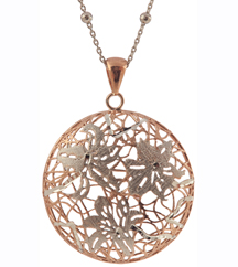 STERLING SILVER AND ROSE GOLD PLATED FLOWER PENDANT