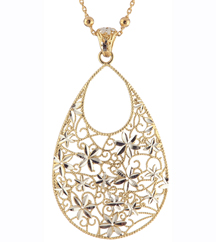 YELLOW GOLD PLATED FLOWER PENDANT