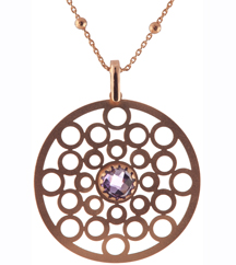 ROSE GOLD PLATED AND AMETHYST PENDANT