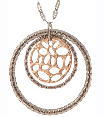 STERLING SILVER AND ROSE GOLD PLATED CIRCLE PENDANT