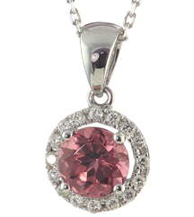 14K WHITE GOLD ROUND PINK TOURMALINE AND DIAMOND PENDANT