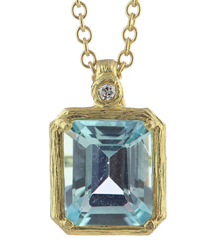 14K YELLOW GOLD ROLO WITH EMERALD CUT BLUE TOPAZ AND DIAMOND PENDANT