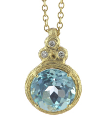 14K YELLOW GOLD ROLO WITH BLUE TOPAZ AND DIAMOND FANCY PENDANT
