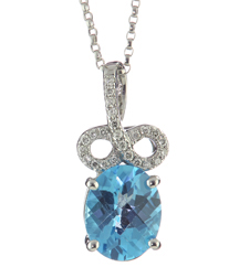 14K WHITE GOLD SWISS BLUE TOPAZ AND DIAMOND PENDANT