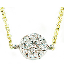 14K WHITE GOLD ROUND PAVE DIAMOND DISC PENDANT
