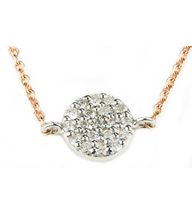 14K WHITE GOLD PAVE DIAMOND DISC PENDANT