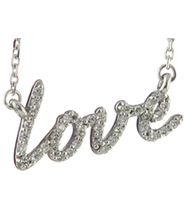 14K WHITE GOLD PAVE DIAMOND LOVE SCRIPT PENDANT