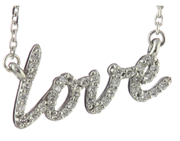 "14K WHITE GOLD PAVE DIAMOND ""LOVE"" SCRIPT PENDANT"