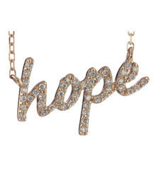 14K ROSE GOLD PAVE DIAMOND HOPE SCRIPT PENDANT