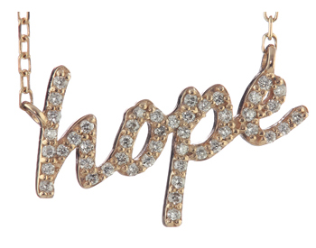 "14K ROSE GOLD PAVE DIAMOND ""HOPE"" SCRIPT PENDANT"