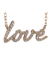 14K ROSE GOLD PAVE DIAMOND LOVE SCRIPT PENDANT