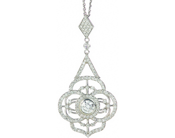 14K WHITE GOLD DIAMOND FILIGREE DESIGN PENDANT