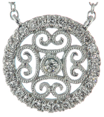 14K WHITE GOLD ROUND MILLEGRAIN AND FILIGREE DIAMOND PENDANT