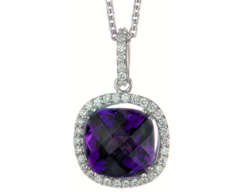 14K WHITE GOLD CUSHION AMETHYST AND DIAMOND HALO PENDANT