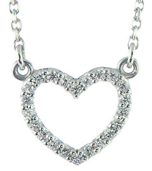 14K WHITE GOLD PAVE DIAMOND OPEN HEART PENDANT