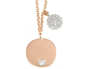 14K ROSE GOLD ROUND SATIN DISC WITH BURNISH SET DIAMOND AND OFFSET WHITE GOLD PAVE DIAMOND DISC NECKLACE