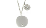 14K WHITE GOLD ROUND SATIN DISC WITH BURNISH SET DIAMOND AND OFFSET PAVE DIAMOND DISC NECKLACE