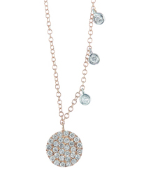 14K ROSE GOLD ROUND PAVE DIAMOND DISC AND OFFSET WHITE GOLD BEZEL SET DIAMOND NECKLACE