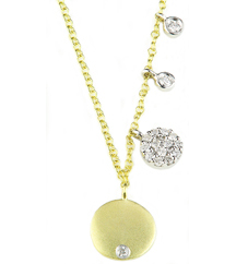 14K YELLOW GOLD ROUND SATIN DISC WITH BURNISH SET DIAMOND AND OFFSET PAVE DIAMOND AND BEZEL SET DIAMOND NECKLACE