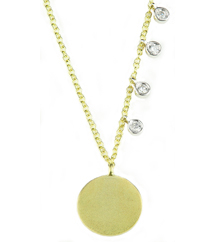 14K YELLOW GOLD ROUND SATIN DISC AND OFFSET WHITE GOLD ROUND BEZEL SET DIAMOND NECKLACE