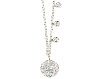 14K WHITE GOLD ROUND PAVE DIAMOND DISC AND OFFSET BEZEL SET DIAMOND NECKLACE