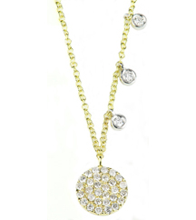 14K YELLOW GOLD ROUND PAVE DIAMOND DISC AND OFFSET WHITE GOLD BEZEL SET DIAMOND NECKLACE