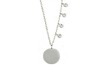 14K WHITE GOLD ROUND SATIN DISC WITH OFFSET ROUND BEZEL SET DIAMOND NECKLACE