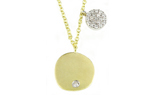 14K YELLOW GOLD ROUND SATIN DISC WITH BURNISH SET DIAMOND AND OFFSET WHITE GOLD PAVE DIAMOND DISC NECKLACE