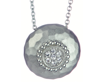STERLING SILVER ROUND WHITE SAPPIHRE CENTER PENDANT