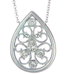 STERLING SILVER PEAR SHAPED FILIGREE AND DIAMOND DESIGN PENDANT
