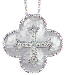 STERLING SILVER HAMMERED DIAMOND CENTER CROSS PENDANT
