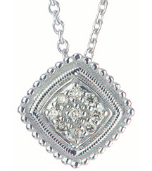 STERLING SILVER CUSHION AND PAVE DIAMOND CENTER PENDANT