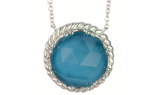 STERLING SILVER ROUND TURQUOISE CENTER AND ROPE EDGED PENDANT